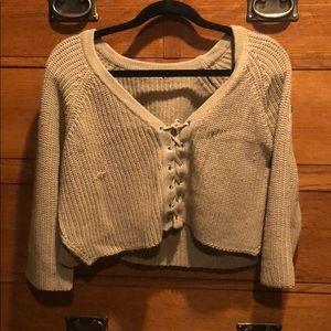 Tie-up crop top sweater